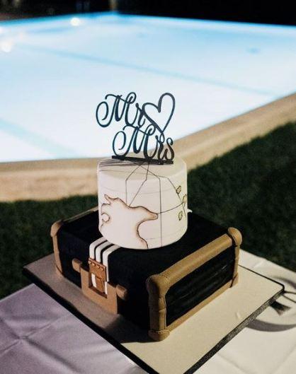 Suitcase Wanderlust Wedding Cake